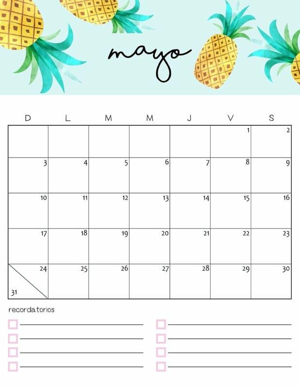 Calendario colorido 2020 de mayo gratis