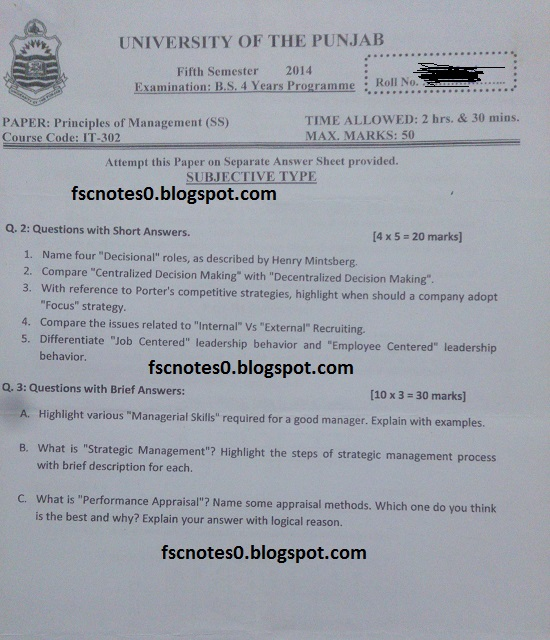 BS (Hons) IT Information Technology Past Papers Semester 5 Principles of Management (SS) 2014 Asad Hussain