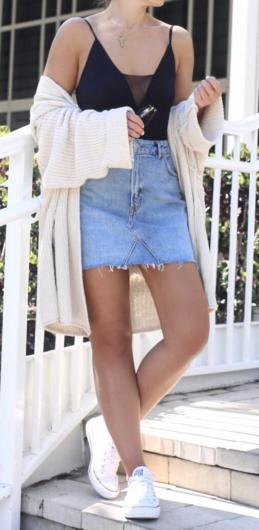 summer outfit of the day: black top + cardi + denim skirt + sneakers