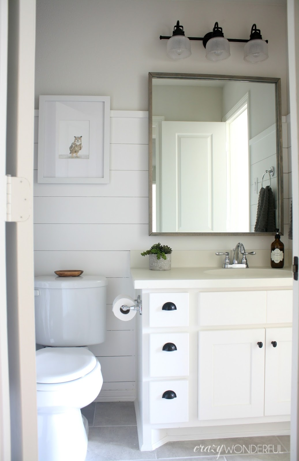 shiplap boy's bathroom reveal - Crazy Wonderful