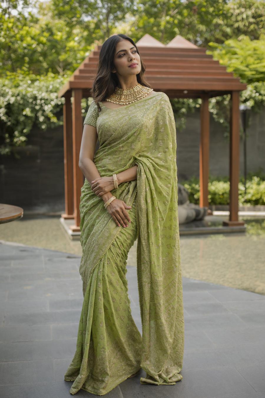 Glamorous Indian Model Malavika Mohanan In Green Saree