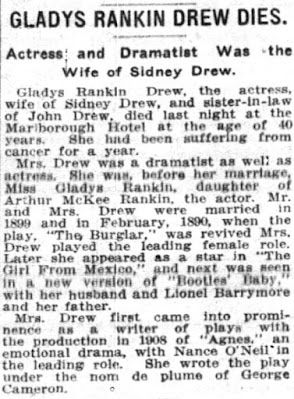 Gladys Rankin Drew Death