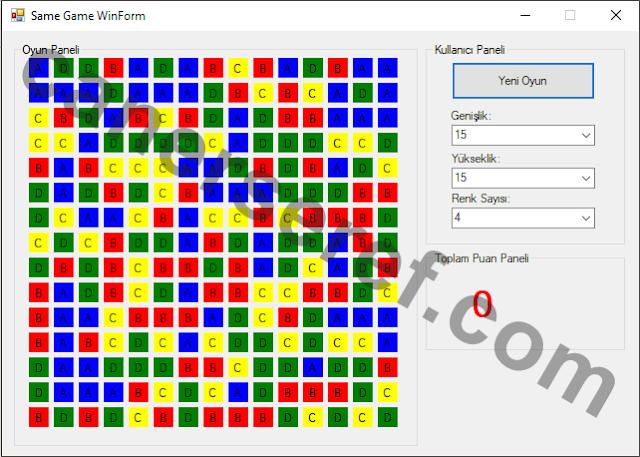 Same Game WinForm Default Açılış Ekranı
