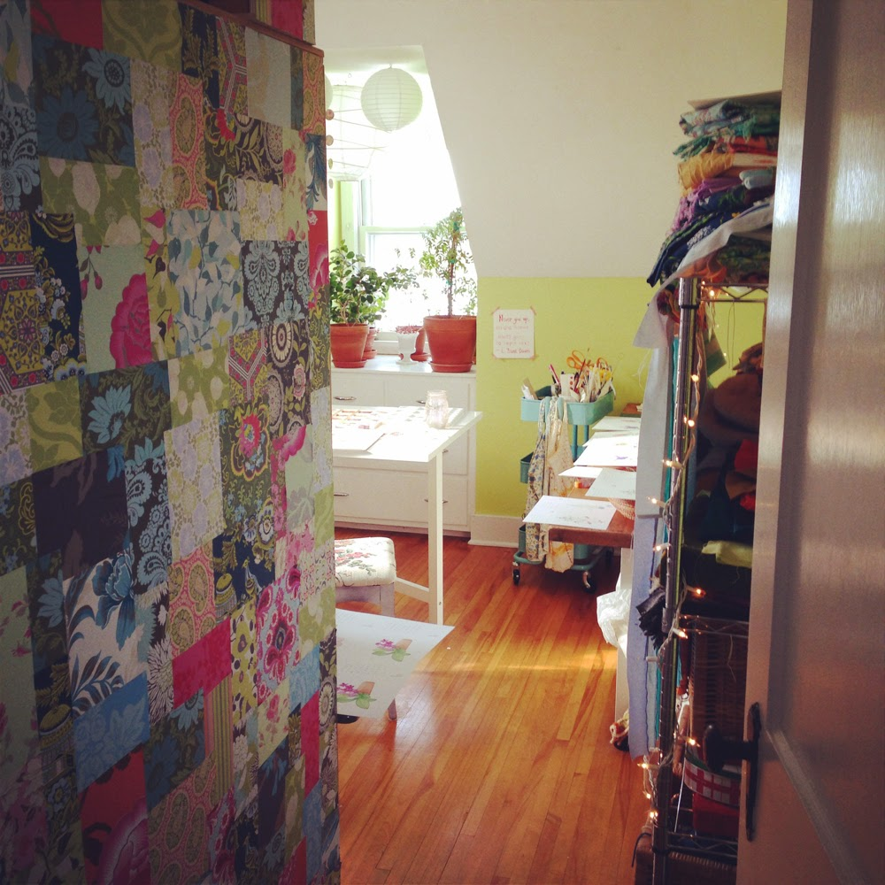 patchwork wall, art table, studio space