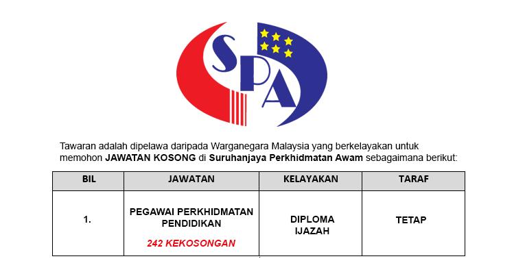 Jawatan Kosong Pegawai Perkhidmatan Pendidikan - 242 Kekosongan