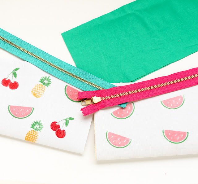 Custom DIY fruit stamped snack pouches for easy snacking on the go