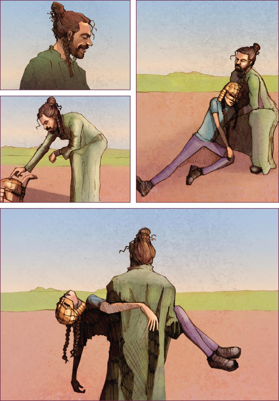 Lian Webcomic, The Tree of Life, chapter 2. Wilbur taking Lian away