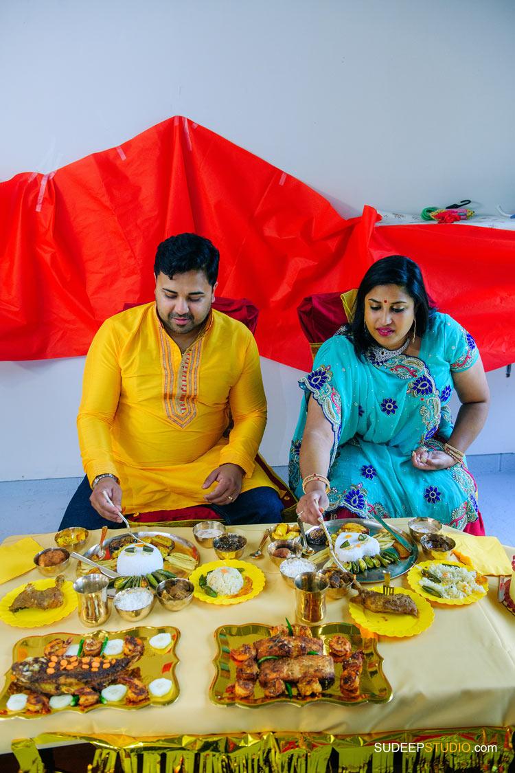 Dinner Indian Bengali Wedding Photography Bangla Gaye Holud Ceremony by SudeepStudio.com Michigan Ann Arbor South Asian Indian Wedding Photographer