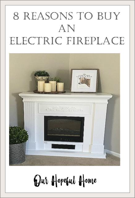 white electric fireplace farmhouse mantel art