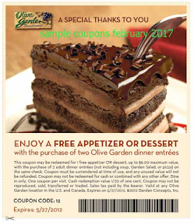 Olive Garden coupons february 2017