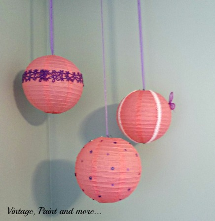 Vintage, Paint and more... upcycled paper lanterns with scrapbook embellishments