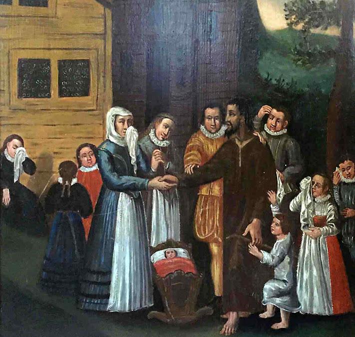 São Nicolau de Flue se despede de sua esposa e 10 filhos