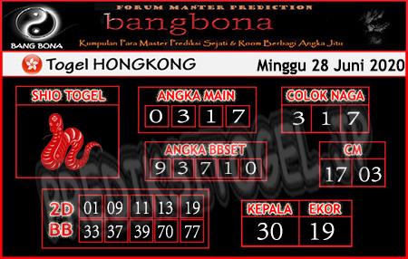 Prediksi Bangbona HK Minggu 28 Juni 2020