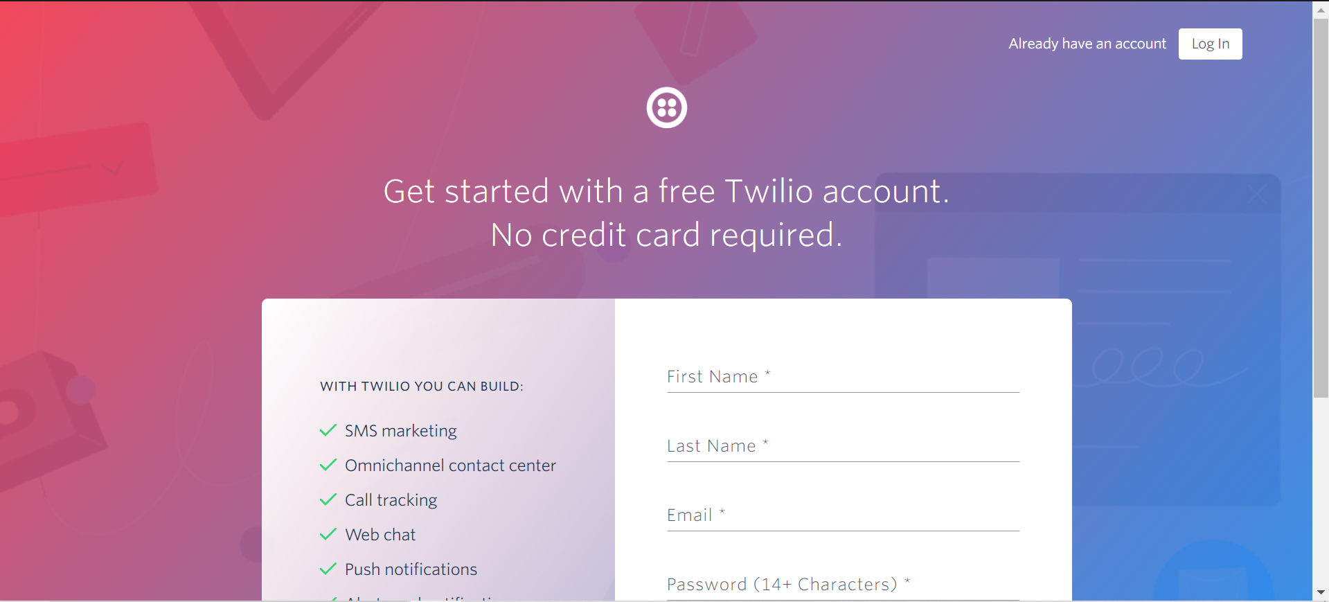 Sign up page for Twilio
