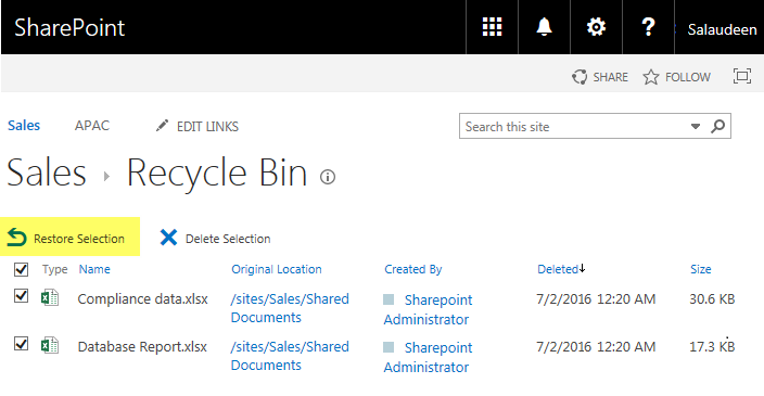 sharepoint online restore from recycle bin