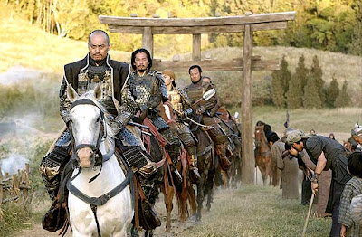 Ken Watanabe as Samurai leader Katsumoto, riding with clan warriors, The Last Samuraii, directed by Edward Zwick