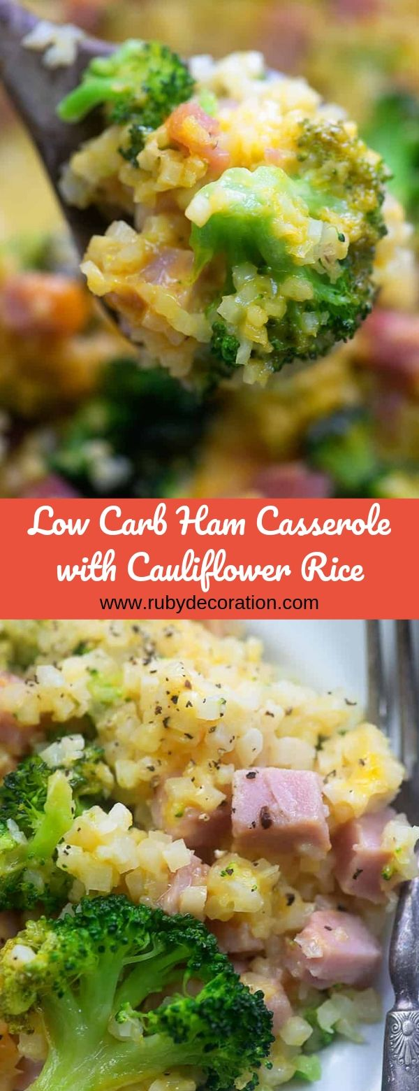 Low Carb Ham Casserole with Cauliflower Rice