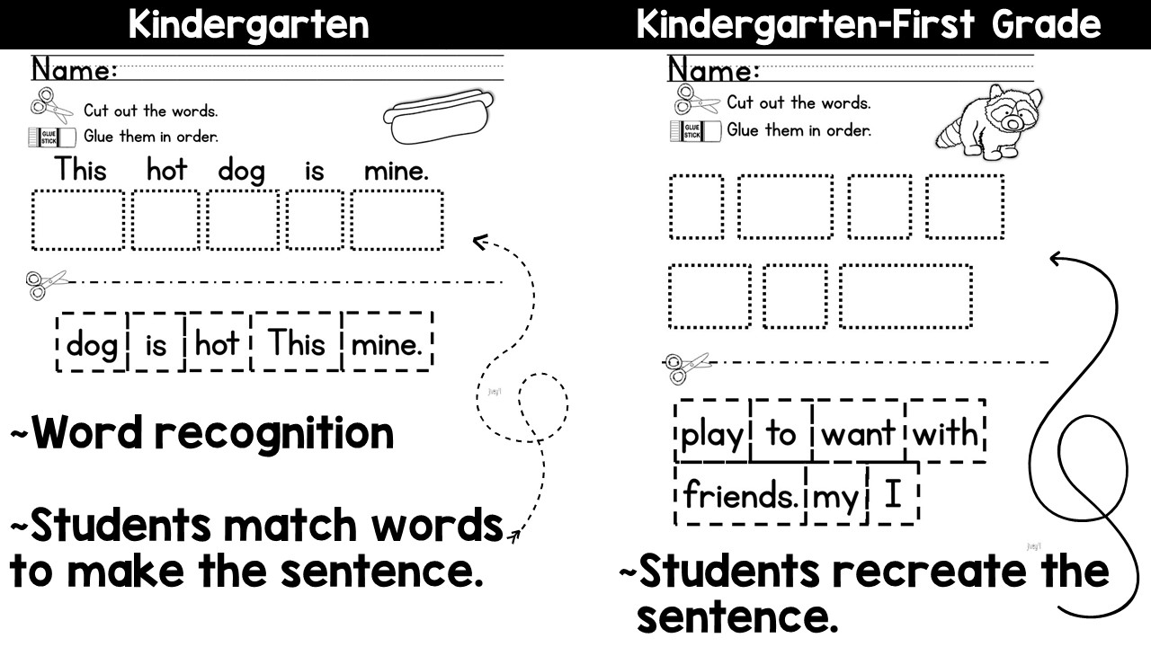 How To Write A Sentence Worksheets For 1st Grade