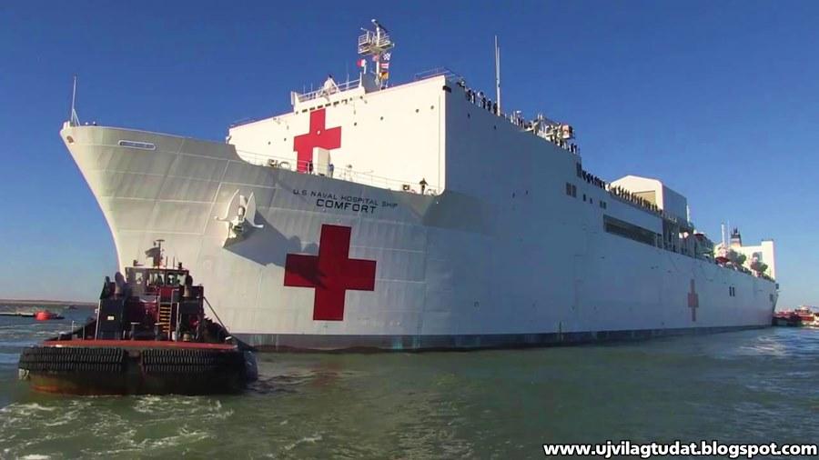 A USNS Comfort a világ legnagyobb kórházhajója, melyet egy olajszállítóból alakítottak át 1987-ben