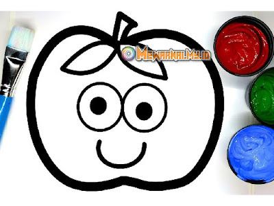 gambar buah apel untuk mewarnai