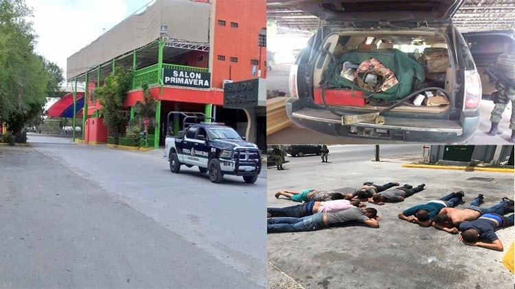 """FOTOS: REVIENTAN LA """"QUINTA BLAYSER"""" LA NARCOGUARIDA DEL CDG EN REYNOSA Y ASEGURAN ARMAS, UNA BLINDADA, 3 CAMIONETAS, HAY 10 DETENIDOS"""