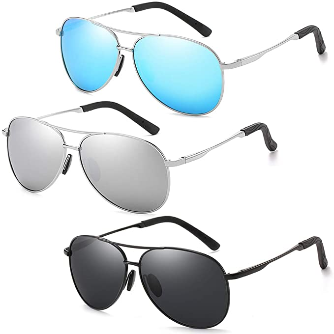 45% OFF  3 Pairs Classic Aviator Sunglasses, Polarized, UV400 Protection,Mirrored Lenses.