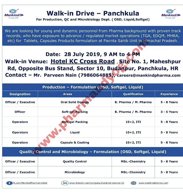 Mankind Pharma | Walk-in interview for Production- QC | 28 July 2019 | Panchkula