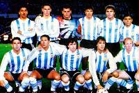 SELECCIÓN DE ARGENTINA - Temporada 1993-94 - Vázquez, Redondo, Goycoechea, Chamot, Ruggeri y Maradona; Hugo Pérez, Diego Pablo Simeone, Balbo, Batistuta y MacAllister - ARGENTINA 1 (Tobin p.p.) AUSTRALIA 0 - 17/11/1993 - Campeonato del Mundo de 1994, clasificación - Buenos Aires, Argentina, estadio Monumental