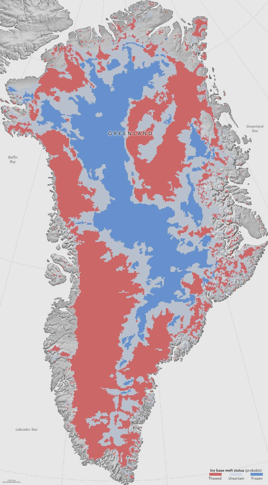 First Map Of Thawed Areas Under Greenland Ice Sheet