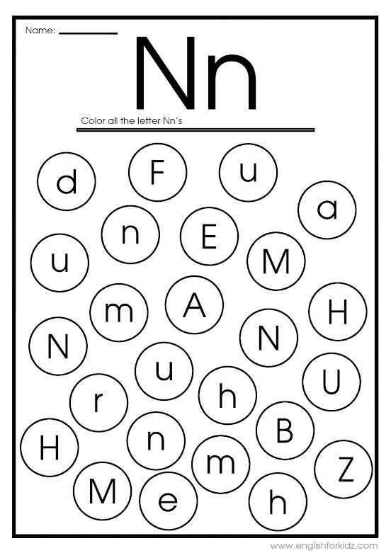 Find letter n worksheet -- printable ESL materials to teach English alphabet