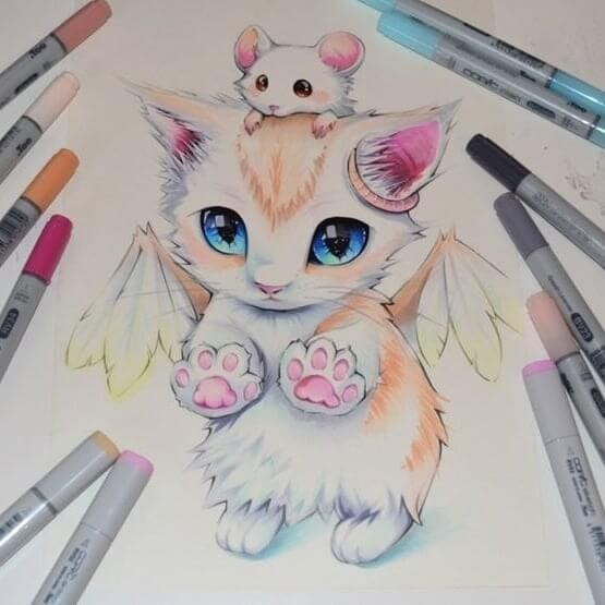 10-Cat-and-Mouse-Lisa-Saukel-lighane-Cute-Colored-Fantasy-Animal-Drawings-www-designstack-co