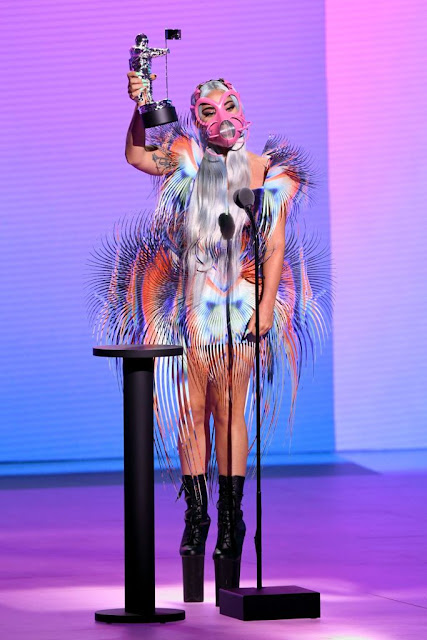 Lady Gaga is wearing an Iris van Herpen dress