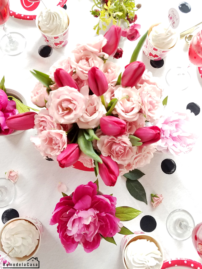 roses and tulips centerpiece