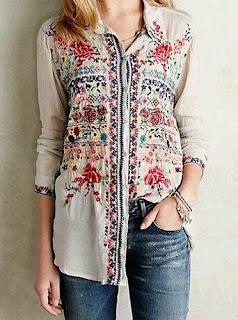Imágenes Tendencias Moda Mujer Instagram Primavera Verano camisa estampada bordada flores diseños