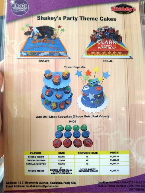 Shakey's Cakes and Cupcakes Packages for their Kiddie Party
