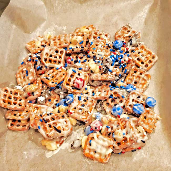 snack mix on a cookie sheet