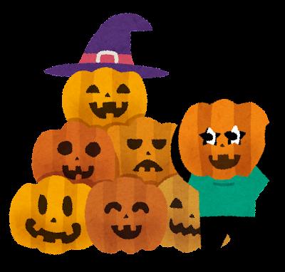 ハロウィンのかぼちゃで遊ぶうさぎ