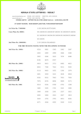 Sthree Sakthi Lottery SS-278 Results 14-9-2021