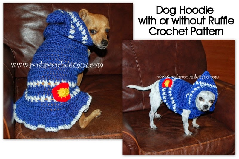 Posh Pooch Designs Dog Clothes Colorado Strong Dog Hoodie Small