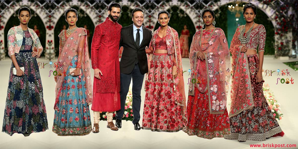 Models in contemporary floral bridal dresses by Varun Bahl at India Couture Week 2016 to showcase Vintage Garden