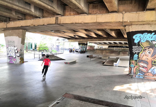Pink skatepark Bangkok under a bridge