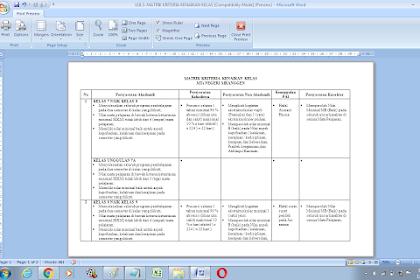 Contoh matrik kriteria kenaikan kelas SMP/MTS