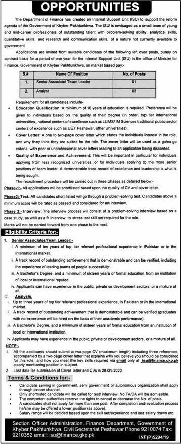 Finance Department Jobs in Peshawar