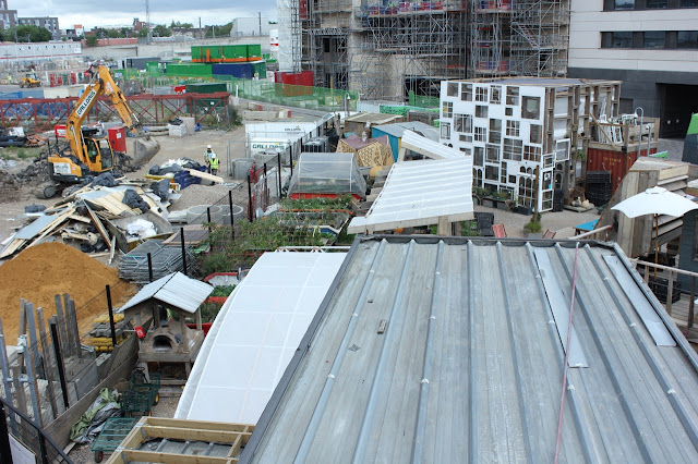 Looking down on Skip Garden in Kings Cross 2015 next to construction work