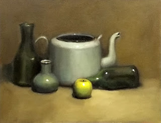 Still life oil painting of a green apple, a green kettle, green bottles and a green vase.