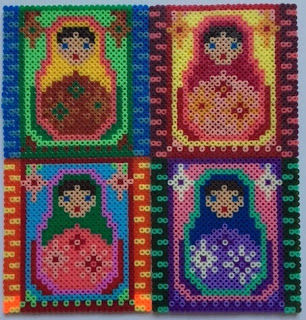 Mini Hama bead Russian dolls picture