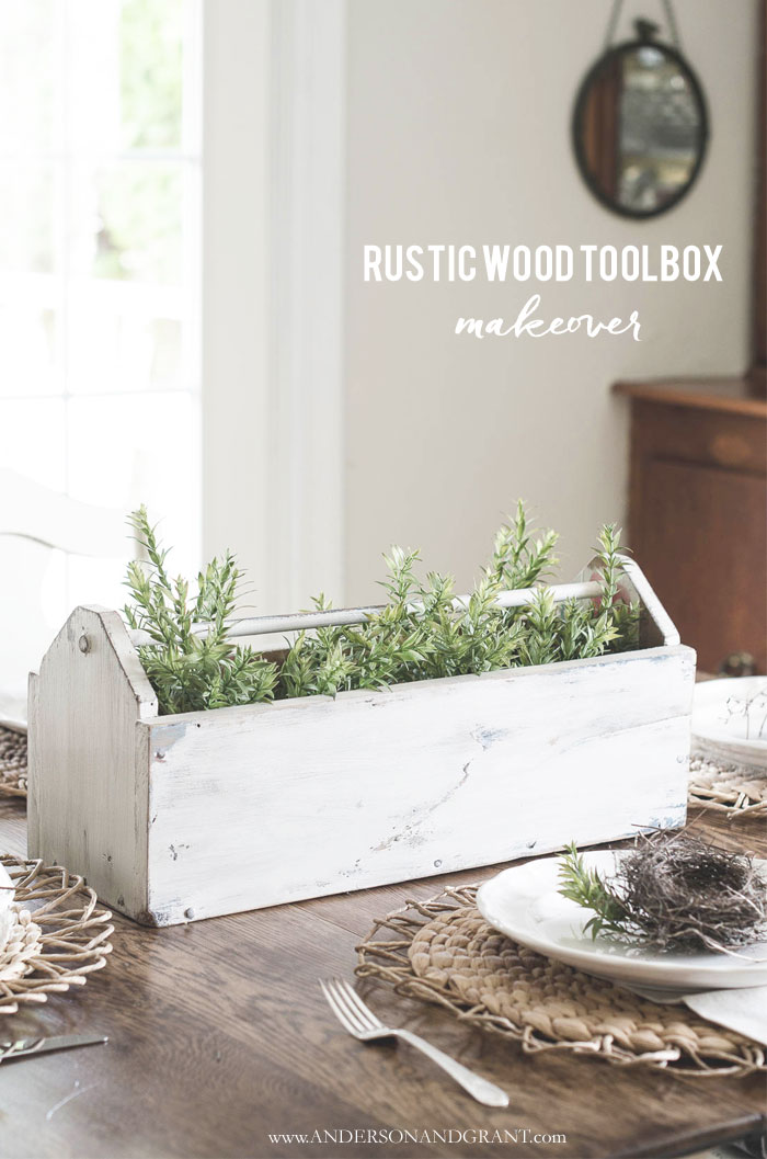 Simple makeover for a thrift store wood tool box #fixerupperstyle #DIY #DIYdecor #farmhouseDIY
