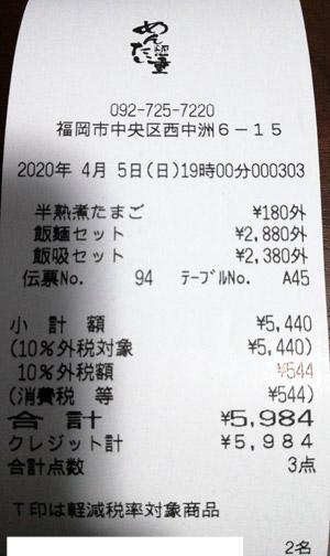 元祖博多めんたい重 2020/4/5 飲食のレシート