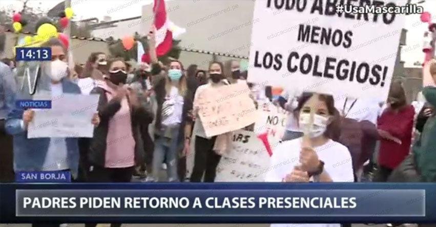Padres de familias protestaron frente a sede del MINEDU en favor del retorno a clases presenciales