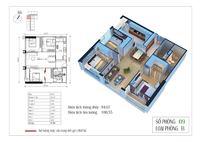 Thiết kế căn hộ số 09: 94,87m2